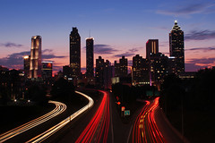 Jackson Street Bridge View (russ david) Tags: atlanta ga october 2016 jackson street bridge view georgia skyline architecture light trails suntrust plaza pacific tower westin peachtree