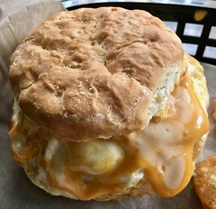 sausage egg and cheese biscuit from The Bird SF (Fuzzy Traveler) Tags: biscuit breakfastsandwich breakfast sausage egg cheese thebird sanfrancisco food restaurant soma