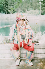 73060010 (amiaphotos) Tags: pride lgbt love rainbow drag dragqueen outspokane art amiaphotos amiaart pastel spokanemusicscene spokaneartscene spokane native nativeamerican 35mm film fujifilm analog canon vintagecamera headdress portrait people