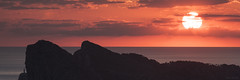 Amaterasu (Juan Sastre) Tags: amanecer montaña sol roca mar nube mallorca canon isla mediterraneo agua panorama naranja rojo panoramica