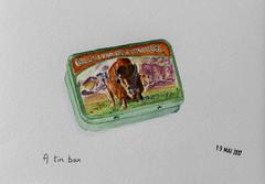 May daily challenge 19 - A tin box (chando*) Tags: aquarelle watercolor croquis sketch celestialseasonings bison buffalo