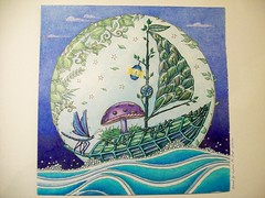 Leaf Boat (Lynne M. B.) Tags: coloringadults coloring coloringbook coloredpencils drawing art illustration prismacolor enchantedforest aninkyquestcoloringbookjohannabasford
