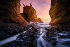 The Light Inside (Exploring Light) Tags: olympic coast nationalpark ocean seastacks cave sunset reflectedlight glow water cascades longexposure pink orange rocks pacific olympiccoast2017