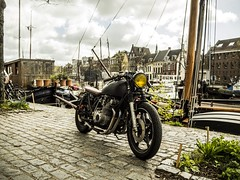 Nice day combining a drive and testing my new Olympus camera. (mschmaal) Tags: houseboats caferacer em10 omd olympus netherlands groningen sports motorcycle adventure