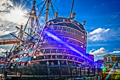 Stern and port side of the HMS Victory (Brett of Binnshire) Tags: sailingship england nationalmuseumoftheroyalnavy highdynamicrange historicalsite ship portsmouth lrhdr museum scenic hampshire lightroomhdr boat hdr lensflare locationrecorded manipulations hmsvictory admiralnelson