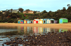Bathing boxes (Julia_Kul) Tags: coast australia australian shore attractive vibrant white seaside phillip view peninsula waterfront sand yellow bright holiday walking mount summer bathing mills aussie box painted beach eliza color blue colorful relax beauty sunset melbourne sky scenic sea scene wooden victoria beautiful background water sandy nature vacation landscape colourful mornington colour