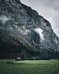 Backyard Waterfall (noberson) Tags: switzerland waterfall meadow green mood cloud water rain cabin cliff rocks rock lauterbrunnen