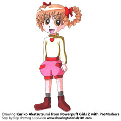 Kuriko Akatsutsumi from Powerpuff Girls Z with ProMarkers [Speed Drawing] (drawingtutorials101.com) Tags: kuriko akatsutsumi powerpuff girls z ppgz japanese anime promarkers promarker alcohol markers marker color colors coloring how draw timelapse video