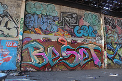 Beset, Over, Gob, Chopla, Spar, Chef (NJphotograffer) Tags: graffiti graff new jersey nj shortys skatepark diy skateboarding abandoned building urban explore beset bset yak sfg crew over r2b gob chopla 2wcrew 2w spar chef