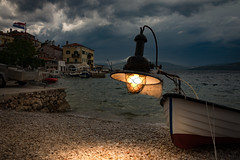 Test of the Lamp (Bernd Thaller) Tags: valun primorjegorski kroatien hr fishingboat boat lamp illumination fake postprocessing evening outdoor seaside village adriatic croatia artificiallighting light availablelight