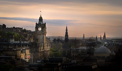 Historic Skyline (NathanJNixon) Tags: history historic victorian old architecture art calm peaceful city europe town center princes street skyline cityline scape cityscape landscape capital scotland edinburgh edinburghcastle evening dusk yellow orange blue dark black highlight shadow darkness sunset sun sky clouds smooth hill hilltop horizon building buildings clock clocktower monument church trees urban streets nature travel photography visit tourism spring may night fall afternoon bold ngc
