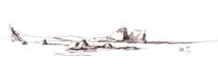Lord Howe sketch 3 (panda1.grafix) Tags: seascape lordhoweisland lagoon inksketch blackandwhitesketch