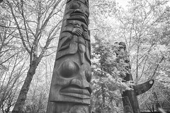 More Occidental Park Totems (zenseas) Tags: totem totempole totempoles seattle washington indigenous nativeamerican pacificnorthwest park bw blackandwhite monochrome hdr northwest city urban ir infrared digitalinfrared occidental occidentalpark wood wooden