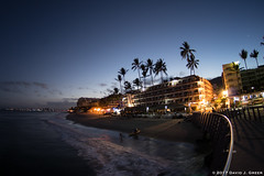 The Curve of Dawn (David J. Greer) Tags: curve dawn sunrise puerto vallarta mexico beach shore wave waves surf sand hotel hotels tree trees rail railing curved walkway landscape outdoors shoreline