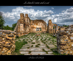 A church's ruins and a cat (Nikos O'Nick) Tags: nikos onick kotanidis nikon d810 nikkor 2470mm f28 hdr photomatix ahilios αχίλλειοσ άγιοσ εκκλησία ερειπία πέτρεσ νησί λίμνη σύννεφα lake island clouds church christian tripod manfrotto 055xprob 498rc2 ballhead hellas greece ελλάδα μακεδονία macedonia nik collection sky blue color efex pro4