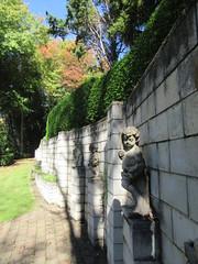 Statues at Trelinnoe Park (Kevin Fenaughty) Tags: outdoor statue wall hedge tree autumn grass tepohue hawkesbay newzealand garden park trelinnoe