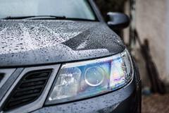 Saab (natedog13) Tags: saab 93 canon rain waxed beading wax raining 1000d