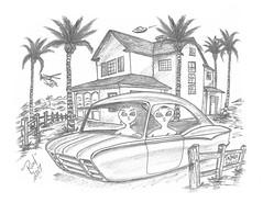 Pajaro Dunes (rod1691) Tags: bw sketch scifi alien greys concept custom car retro space hotrod drawing pencil h2 hb original story fantasy funny automotive art illistration greyscale moonpies california
