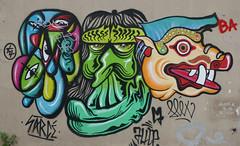 Interesting street art trio - Butte aux Cailles, Paris (Monceau) Tags: trio three faces different colorful vivid streetart butteauxcailles paris 13tharr