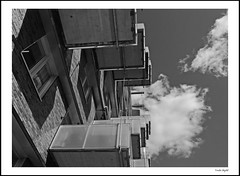 Balcony (frode skjold) Tags: balcony sørenga oslo norge norway blackwhite bw monochrome fujifilmx20 photoshop14 building architecture clouds sky heaven