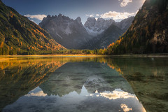 Enchanted Mirror (albert dros) Tags: sun dolomites reflections lagodilandro mirror durrensee albertdros mountains italy sunlight lake tourism travel autumn