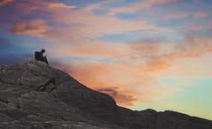 A Moment of Contemplation (charhedman - on and off) Tags: awomansittingonarockbyherselfholdingaseashell shewasnttextingorusingherphone olympicpeninsula washingtonstate rock sky evening clouds