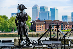 Lord Nelson - Admiring what he fought for... (Aleem Yousaf) Tags: horatio nelson overlooking thames canary wharf viscount duke bronté flag officer royal navy greenwich statue architecture 70200mm nikon d800 photo ride