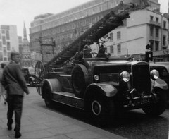 Fire engine near Charing Cross station in about 1960 (Tom Burnham) Tags: uk london charingcross fireengine 1960s