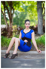 Sara - Don't Leave Me Stranded (jfinite) Tags: model beauty fashion environmentalportraiture spring dress bluedress heels legs