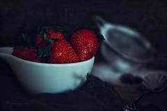 temptation (cherryspicks (on/off)) Tags: strawberry sugar sweet spring food fruit dark temptation red spoon sifter kitchen dessert stilllife