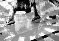 reflections and shoes (christikren) Tags: wien vienna shop blackandwhite bw sw schuhe shoes reflection reflektionen christikren fashion new history building couple window schaufenster monochrome