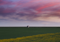 Alone in the fields (kubaszymik) Tags: clouds dark night evening fields landscape colors green yellow poland silesia canon vsco gliwice hdr building high dynamic range spring may sunset