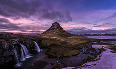 The Smokey Hat for Kirkjufell (Ping...) Tags: kirkjufell iceland mountain waterfall cascade clouds pink dramatic snow ocean river nikon d810 1424mm f28g
