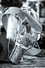 Finding My Inner Cowboy (jah32) Tags: cowboy badge replica replicarevolver 45 holster gunbelt western innercowboy rope ropes cowboyhat blackandwhite blackwhite bw monochromatic monochrome peacemaker bad stilllife tabletop tombstone arizona sheriff sheriffsbadge cmwdbw