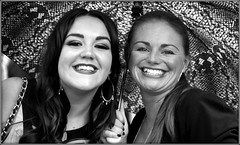Smiling scousers (* RICHARD M (Over 6 million views)) Tags: street portraits portraiture streetportraits streetportraiture mono blackwhite smiles happy happiness beaming liverpulians scousers liverpoolladies liverpoollasses smileyscousers smilingscousers pearlywhites liverpool merseyside europeancapitalofculture capitalofculture umbrella brolly prettygirls personalgrooming wellgroomed joy joyful attractive summer summertime august liverpoollovelies scousebeauties gorgeousgirls glamorous glamour glamourgirls glam beautifulgirls glorgeous twospanisheyes coiffeured coiffeure