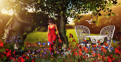 Somewhere in my minds (meriluu17) Tags: boudoir monalisa ml foxcity nc garden sunset sunlight light warm red evening animals forest elf elven memories minds mood moody walk people outdoor portrait land flower flowers poppy bench stone tree nature dove fly birdcage butterfly bee bird squirrel