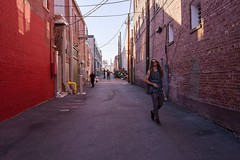Alley in Color:  #3 (brev99) Tags: alley d610 people tamron35f18vc photoshopelements12 brickwall bricks bradyartsdistrict downtown cityscape perfecteffects17 on1photoraw2017 ononesoftware