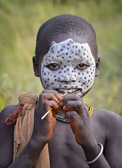 Suri Child (Rod Waddington) Tags: africa african afrique afrika äthiopien ethiopia ethiopian ethnic etiopia ethnicity ethiopie etiopian omo omovalley outdoor omoriver suri tribe traditional tribal culture cultural child outdoors portrait people painted face