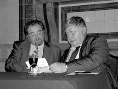 Speaker David Timson with Chairman Jonathan McCafferty (photo by Jean Upton)
