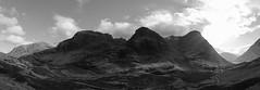 Three Sisters (Mark Alan Andre) Tags: markalanandre scotland travel unitedkingdon landscape black white bnw bw monochrome mountain sun light clouds
