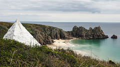 Pyramid and Lizard (real ramona) Tags: flown minack cornwall porthcurno pyramid seascape beach ocean view cable lizardpoint