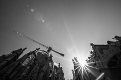 Under Construction, La Sagrada Família (Geraint Rowland Photography) Tags: underconstruction lasagradafamília barcelona gaudi architecture gothic amazing spain mustseeinbarcelona flare wideangle shadows light silhouettes cranes construction lasagradafamilia