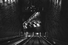 Descension (karstenphoto) Tags: 35mm film kodak trix analog ishootfilm filmisalive malmo malmö sweden swedish architecture train system subway metro escalators escalator public transit