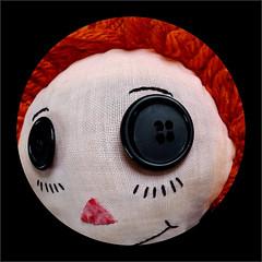 Raggedy Ann's Eye - fish eye view (suzanne~) Tags: eye doll raggedyann button fisheye android macro macromondays eyes challenge