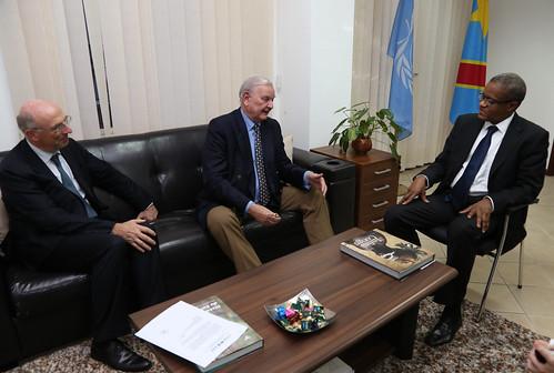 Caption: Kinshasa, DR Congo: Belgium Minister of State, Mr. François-Xavier de Donnea met the Special Representative of the UN Secretary-General in DRC Maman Sidikou at MONUSCO Headquarters.