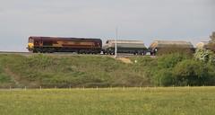 66 113 Brinkworth with Hayes-Moreton-on-Lugg hopper wagons (kitmasterbloke) Tags: 66113 ews dbs cargo locomotive wiltshire freight train railway gwr outdoor transport