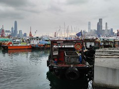 Fish Village and the City 1 (huiaaron) Tags: lg v10 mobilephonephotography hongkong victoriaharbour