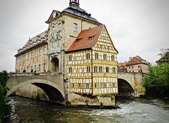 Lots of water under the bridge... (evakatharina12) Tags: bamberg oldtownhall altesrathaus regnitz river bridge water franconia bavaria germany city town panasonic fz1000