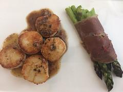 Scallops & prosciutto-wrapped asparagus (htomren) Tags: phonepics food scallops asparagus