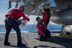 170422-N-VN584-630 (U.S. Pacific Fleet) Tags: usstheodoreroosevelt cvn71 vn584 alex corona sailors ao aviationordnance advancemediumrangeairtoairmissile ea18ggrowler cougars electronicattackstrikesquadron vaq 139 flightdeck underway
